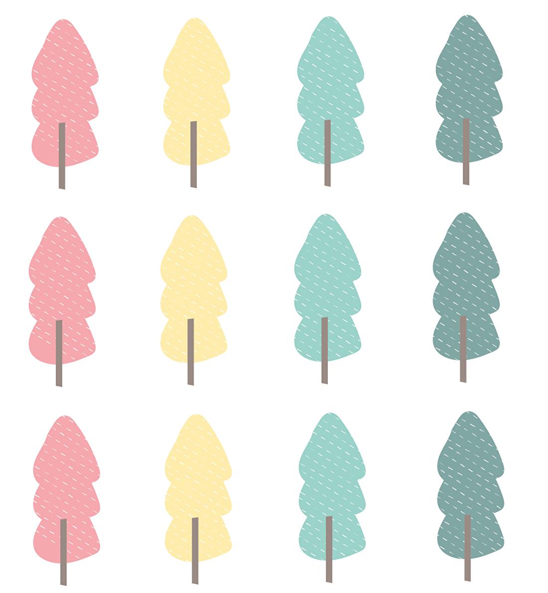 Gekleurde bomen muurstickers in de babykamer