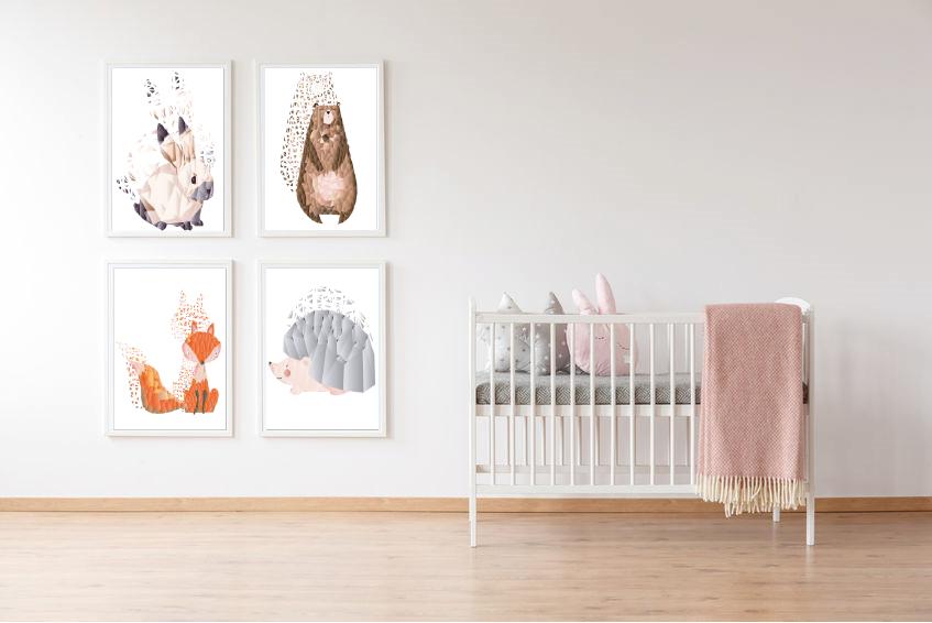 4 dieren posters in de babykamer