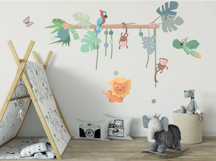 Jungly jungle - muurstickers in de babykamer