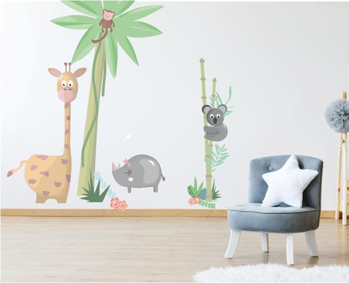 Jungle muurstickers voor de babykamer