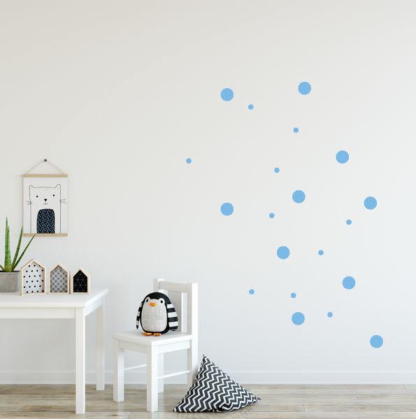 blauwe stippen muurstickers