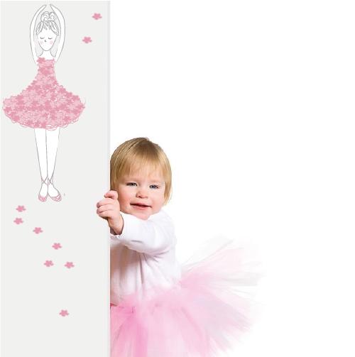 roze ballerina muursticker