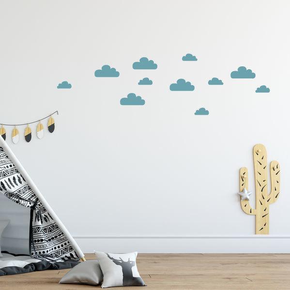 blauwe wolken muurstickers