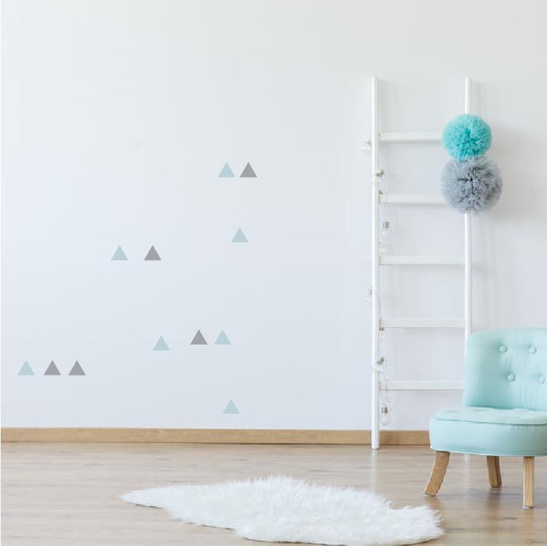 Grijze en blauwe driehoek muurstickers