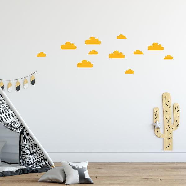 oker gele wolken muurstickers