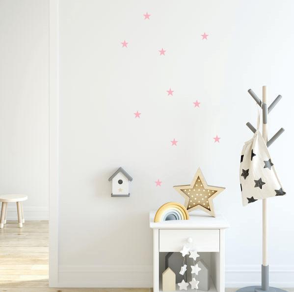 roze sterren muurstickers