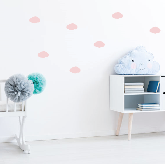 roze wolken muurstickers op de muur