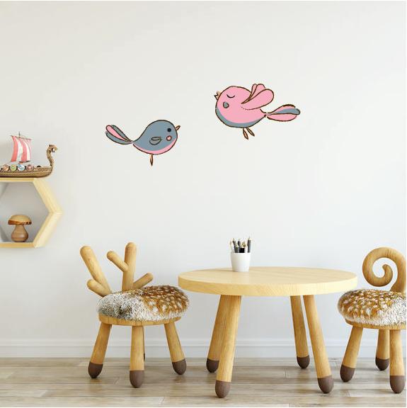 twee roze vogeltjes muurstickers