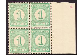 Nederland NVPH 31a Postfris FOTOLEVERING (1 cent) (Blokje van vier) MET VELRAND Drukwerkzegels (Nieuwe druk met synthetische drukinkt) 1894