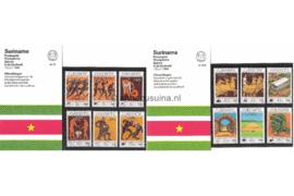 Republiek Suriname Zonnebloem Presentatiemapje PTT nr 5 en 5A Postfris Postzegelmapje De Olympische Zomerspelen te Los Angeles 1984