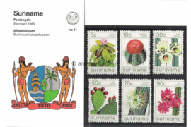 Republiek Suriname Zonnebloem Presentatiemapje PTT nr 11 Postfris Postzegelmapje Surinaamse cactussen 1985