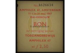 Origineel toegangsbewijs Amphilex beurs RAI gebouw Amsterdam 1967