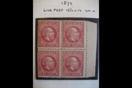 NVPH 15C Postfris (2) Ongebruikt (2) FOTOLEVERING in blokje van 4 (50 cent) Koning Willem III 13 1/4 x 14 kl.g.