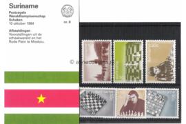 Republiek Suriname Zonnebloem Presentatiemapje PTT nr 8 Postfris Postzegelmapje Het Wereldkampioenschap Schaken tussen Karpov en Kasparov in Moskou 1984