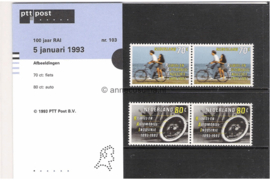 Nederland NVPH M103 (PZM103) Postfris Postzegelmapje 100 jaar Vereniging RAI 1993