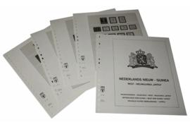 """Lindner Inhouden / T-Voordruk albumbladen met folie voorbladen met stroken (Inhoud) Nederlands Nieuw Guinea, West Nieuw Guinea """"Untea"""" 1950-1962 (6 bladen) (Lindner 432)"""