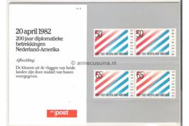 Nederland NVPH M4 (PZM4) Postfris Postzegelmapje 200 jaar betrekkingen Nederland-U.S.A. 1982