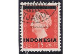 Indonesië Zonnebloem 1B / NVPH 351a Gestempeld FOTOLEVERING (15 cent) Hulpuitgifte. Opdruk Indonesië in zwart op zegels der uitgifte 1945 en 1948 1948-1949