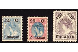 Curaçao NVPH 26-28 Ongebruikt Frankeerzegels van Nederland der uitgifte 1899, overdrukt in zwart 1901-1902