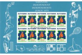 Zonnebloem 6 Postfris (10x75 cent) Siervel Onafhankelijkheid Suriname 1975