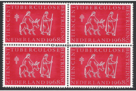 "Nederland Postfris (10 cent) (Blokje van vier) Tuberculose Bestrijding Nederland ""Tuberculosezegels"" 1968"