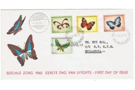 NVPH E5 Beschreven met open klep FOTOLEVERING Sociale zorg, vlinders 1960