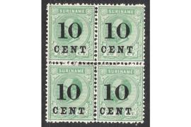 NVPH 31 Postfris FOTOLEVERING (10 cent op 20 cent) (Blokje van vier) Hulpuitgifte. Frankeerzegels der uitgifte 1873-1889, overdrukt in zwart 1898