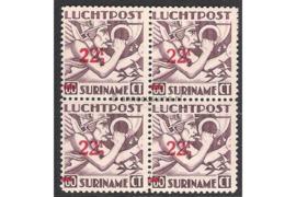 Suriname NVPH LP24 Postfris (22 1/2 ct op 60 ct) (Blokje van vier) Mercurius Overdrukken 1945