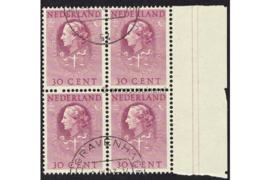 Nederland NVPH D39 Gestempeld (Met velrand Rechts) (30 cent) (Blokje van vier) COUR INTERNATIONALE DE JUSTICE 1951-1958