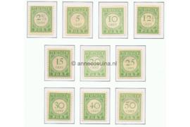 Curaçao NVPH P21-P30 Postfris Cijfer en waarde in groen 1915