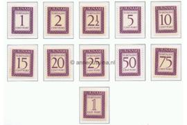 NVPH P47-P57 Postfris Cijfer en waarde in rechthoek. Inschrift Suriname 1956