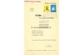 Nederland Gids voor de postzegeltentoonstelling ter gelegenheid van het 50-jarig bestaan van de Utrechtse Philatelisten Vereeniging 1956 met NVPH 676 en 677 Gestempeld