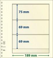 Lindner T-Blanco blad met 3 stroken (Lindner 802303) (per stuk)