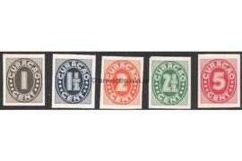 Curaçao NVPH 153-157 Ongetande exemplaren Ongebruikt Cijfer, Indische druk 1942