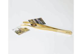 LAATSTE EXEMPLAREN! SPECIALE EDITIE! Lindner Pincet 24 Karaat Verguld 12cm met gebogen schep in etui (Lindner S2038G)