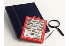 Treinen Postzegelpakket incl. insteekboek, pincet en loupe