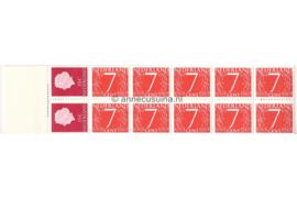 Dubbelvariëteit! Nederland NVPH PB 1H1 Postfris (Met zwart aanlegteken, Niet in het midden!) Postzegelboekje 10 x 7ct cijfer v. Krimpen + 2 x 15ct Juliana 1964