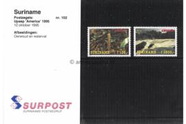 Republiek Suriname Zonnebloem Presentatiemapje PTT nr 102 Postfris Postzegelmapje U.P.A.E. America (zevende serie) Afbeeldingen van een oerwoud en een waterval 1995