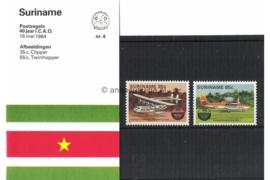Republiek Suriname Zonnebloem Presentatiemapje PTT nr 4 Postfris Postzegelmapje Het 40-jarig bestaan van de Internationale Organisatie voor de Burgerluchtvaart (ICAO) 1984
