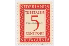 Nederlands Nieuw Guinea NVPH P2 Postfris (5 cent) Cijfer en waarde in rechthoek 1957