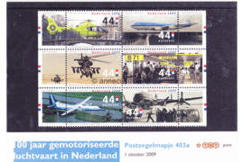 Nederland NVPH M403a (PZM403a) Postfris Postzegelmapje 100 jaar gemotoriseerde luchtvaart in Nederland 2009
