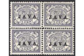 NVPH 69 Postfris (7 1/2 cent) (Blokje van vier) Zegels der uitgiften 1902/3-1908 overdrukt met zwart met JAVA 1908