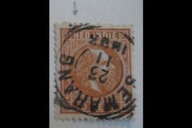 NVPH 9 Gestempeld FOTOLEVERING (10 cent) Koning Willem III met oranjebruin stipje in de poot van de N