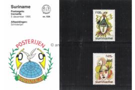 Republiek Suriname Zonnebloem Presentatiemapje PTT nr 104 (Posterijen) Postfris Postzegelmapje Ter ere van de schilder Corneille. Afbeeldingen van Jester met vogel en met kat 1995