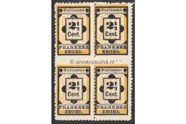 NVPH 22 Postfris (2 1/2 cent) (Blokje van vier) Type I Hulpzegel 1892
