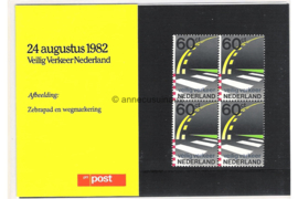 Nederland NVPH M6 (PZM6) Postfris Postzegelmapje 50 jaar Veilig Verkeer Nederland 1982