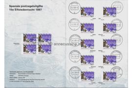 Nederland Speciaal Stempelmapje 15e Elfstedentocht 4 januari 1997 PTT Post NVPH 1710 (14x) Gestempeld