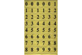 Velletje zwarte cijfertjes op goud rechthoekje (vet lettertype)
