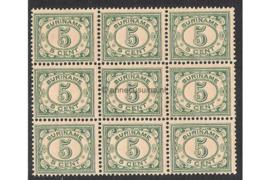 Suriname NVPH 78 Postfris FOTOLEVERING (5 cent) (Blokje van negen) Cijfer 1913-1931