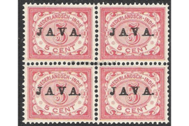 NVPH 68 Postfris (5 cent) (Blokje van vier) Zegels der uitgiften 1902/3-1908 overdrukt met zwart met JAVA 1908